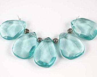 Blue Quartz Briolettes - Synthetic Quartz- Blue Quartz Beads - 31mm