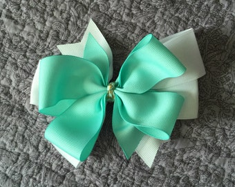 Teal and White Layered Pinwheel Bow on Clip