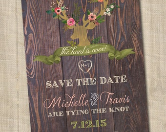 The Hunt is Over Save the Date, Deer Save the Date, Deer Antlers with Flowers, Rustic Save the Date, Country Save the Date, PRINTABLE