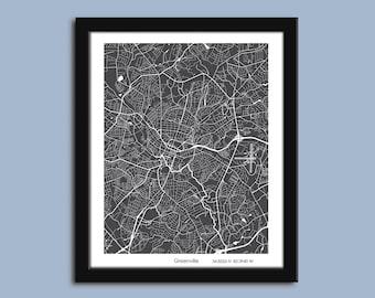 Greenville map, Greenville city map art, Greenville wall art poster, Greenville decorative print