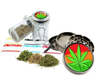 "Rasta Leaf Design - 2.5"" Zinc Alloy Grinder & 75ml Locking Top Glass Jar Combo Gift Set Item # 50G102015-32"
