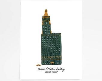 Carbide & Carbon Building, Chicago - Art Print - 8 x 10