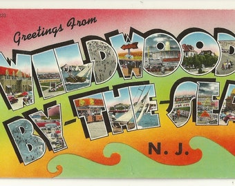 """1950s Chrome Postcard- Large Letters: """"Greetings From Wildwood By-The-Sea, N.J."""" , Wildwood, Cape May County, New Jersey ~ Free Shipping"""