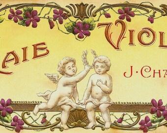 French Vintage Soap Label Vraie Violette jpeg instant digital download