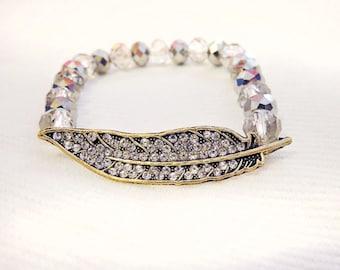 Feather bracelet, feather charm bracelet, boho stack jewelry, boho stack bracelet, feather jewelry, boho fashion, festival jewelry, stacked