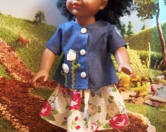 """2-Piece Outfit. Original Design. Skirt and Shirt. Fits all 18"""" dolls like AG and Madame Alexander"""