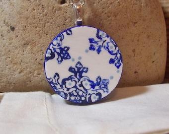 Cobalt Blue Boho Necklace - duo sided handmade wooden pendant - crazy paisley mandala