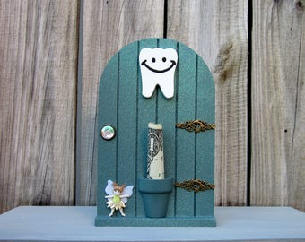 Tooth Fairy, Money Holder, Fairy Door, Sparkly, Green, First Lost Tooth, Painted Wood, Childrens Gift