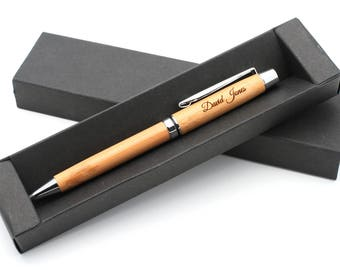 Personalised Bamboo Wooden Pen + Gift Box | Custom Bespoke Laser Engraved