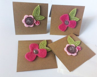 Mini Felt Flower Note Cards