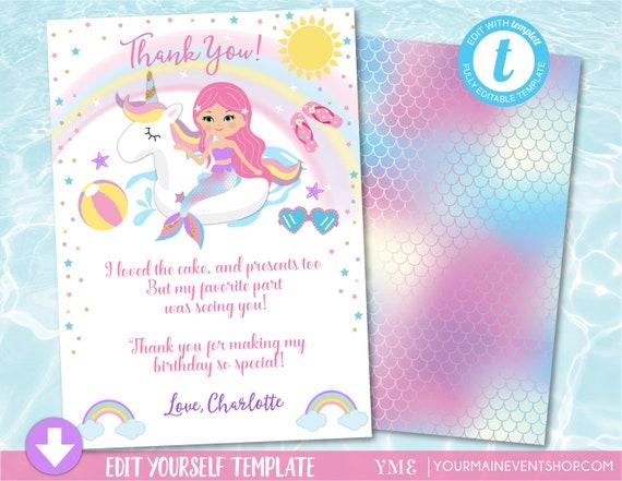 Unicorn Mermaid Pool Party Thank You Card, Pool Party Birthday Thank You Card, Unicorn Mermaid Birthday Party Thank You Card, Templett