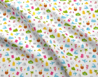 Travel Fabric - Go On And Travel Pattern By Stolenpencil - Kawaii Tropical Summer Vacation Cotton Fabric By The Yard With Spoonflower