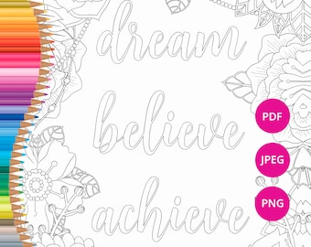 Inspirational Quote Coloring Page Motivational Adult Colouring Pages Prints Printable