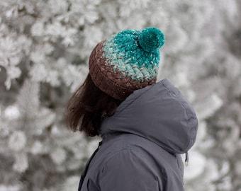 Knit hat gradient hat beanie merino wool cozy hat