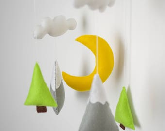 Baby mobile mountain Nursery mobile Baby mobile neutral Grey White mobile Trees baby nursery mobile Cloud mobile Nature nursery