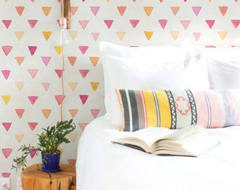Textured wallpaper, Colorful Triangle pattern, Watercolor wall mural, Boho decal, BW061