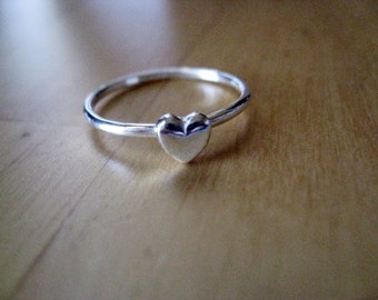 Tiny Heart Stacking Ring Sterling Silver