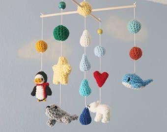 Cute Crochet Penguin & Friends Crib Mobile (Ready To Ship)