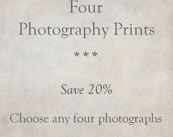 Custom Photography Print Set of 4, Rustic Fine Art Photographs, Wall Art, Home Decor | SAVE 20%