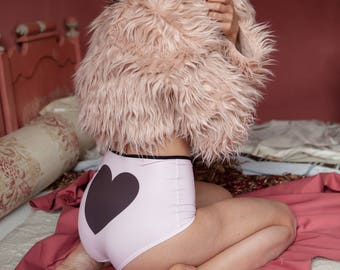 Powder pink  high waisted panties - romantic gift for her. I heart you Valentines gift