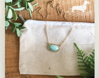 Mint. Necklace -- (Vintage-Style, Simple, Modern, Minimalist, Turquoise, Bridesmaid Gift, Stone Necklace, Spring, Birthday Gift Under 20)
