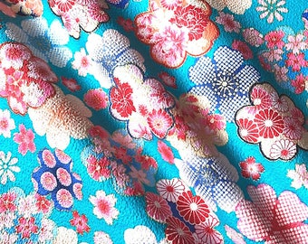Japanese fabric, flowers, blue background, cotton 110 x 50 (006-B)
