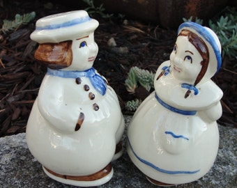 Vintage Shawnee Jack and Jill salt and pepper shakers from 1950s