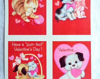 Vintage Valentine Cards - Dogs and Cats - School Valentines Unused - 4