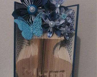 Folded Mum Vase of Flowers Book Art (any wording)