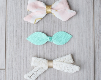 Fabric, faux leather & lace bows | girl bow | teal bow | headband | knot bow | non slip clip | snap clip | toddler bow | faux leather | lace