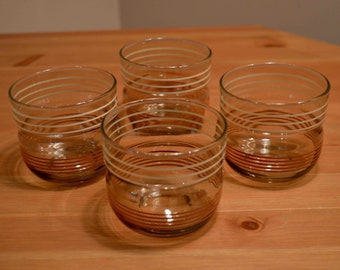 Vintage Set Of 4 Highball Glasses With Cream & Brown Stripes