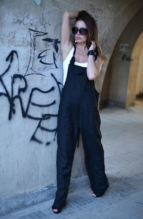 Crotch size Loose JP0408LE Dress Jumpsuite Jumpsuit Plus Harem Flax Pants EUG Suit Linen Casual Black Maxi by Linen Drop Union 6vq1HwI5nx