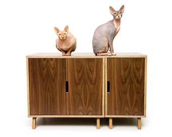 "Mid Century Modern Cat Litter Box Furniture | LARGE Cat Litter Box Cover | Dog & Cat House | Walnut Side Table | ""Modular Cabinet Set"""