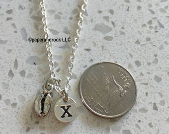 Coffee Bean initial necklace, coffee jewelry, gift for coffee lover, coffee necklace,, coffee maker necklace,, silver coffee necklace,