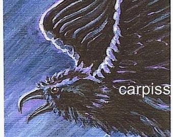 ACEO Crow Raven 1 Ltd Ed Print Mini Art Card by Gail Ragsdale
