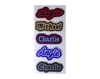 """Custom Embroidered Name Patch Iron-On or Sew-On Patches - From 3"""" - 13"""" long - 30 Different Fabrics To Choose From"""