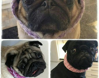 Pug Cowl - Pug Scarf - Dog Cowl - Custom Colours - Dog Scarf - Dog clothing - Animal Clothing - craftsbyblossom