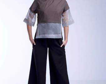 Grey silk short sleeves blouse