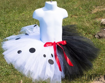 Cruella Halloween Tutu inspired Skirt Costume  Girl Skirt Boutique Bows Clothing Baby Toddler Dalmatians Outfit