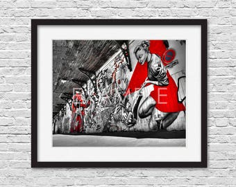 Graffiti Street Mural PRINTABLE Wall Art Print Photography Photo Digital **Instant Download** - The Cleaning Woman