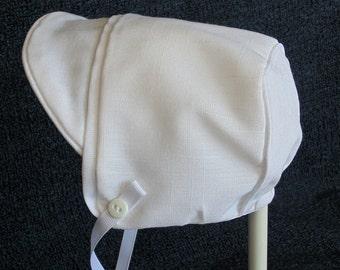 Baby Boy White Linen Hat