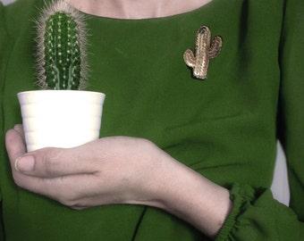 Pins cactus En Avril, broche cactée, bijou brodé graphique,épinglette textile