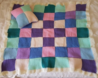 NEW handmade multi-coloured pastels snuggle rug and matching cushion