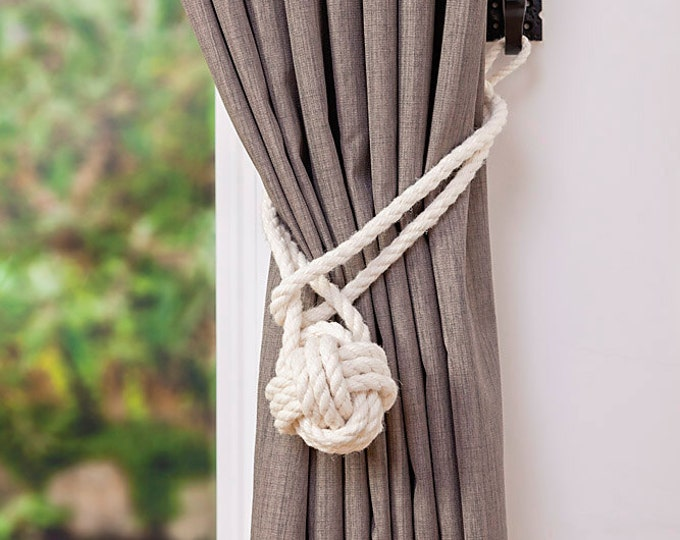 Natural Cotton Rope Ivory Monkey Fist Knot Curtain Tie-Backs with loop/ nautical window/ shabby chic curtain ties/ knot tiebacks/hold-backs