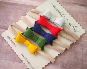 Fall Hair Bow Headband Clip, Dainty Small Wool Felt Bows Set, Mustard Yellow, Red, Green, Gray, Teal, Navy Blue, Soft Nylon, Pigtail Bows