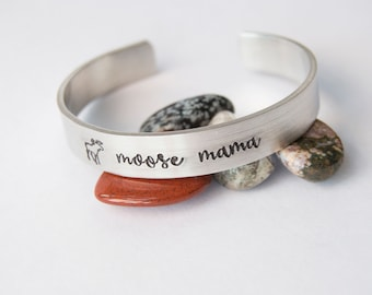 Moose Mama, Hand Stamped Cuff in Pewter