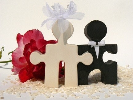 Puzzle People Wedding Cake Topper Mr And Mrs Bride And Groom