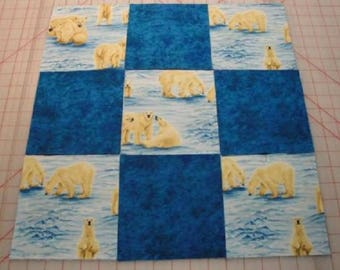 Polar Bears w/Blue Blender Quilting Squares by Elizabeth Studios & Blank Quilting