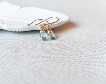 Sky Blue Topaz and Gold Drops - Amazing Quality Faceted Topaz Briolettes Wire Wrapped in 14k Yellow Gold Fill Gift December Birthstone