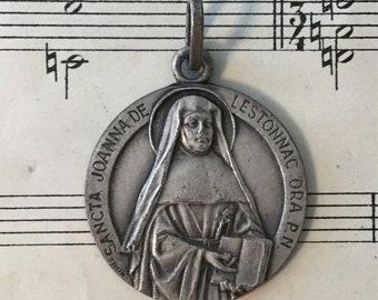 Large Antique French St. Joan of Lestonnac Bordeaux Religious Medal c1920